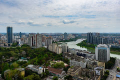 I stadens centrum Miangyang stad Arkivbilder