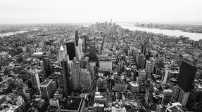I stadens centrum New York City, svartvitt Royaltyfri Foto