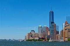 I stadens centrum New York City World Trade Center Arkivbilder