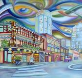 I stadens centrum oljemålning av Seattle. Modern stad. royaltyfri illustrationer