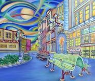 I stadens centrum oljemålning av Seattle. Modern stad. stock illustrationer