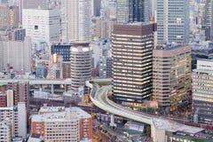 I stadens centrum Osaka Japan för flyg- sikt central affär Arkivbilder