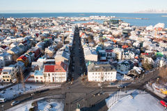 I stadens centrum Reykjavik Arkivbilder
