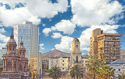 I stadens centrum Santiago de Chile Arkivfoton