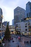 I stadens centrum Seattle med feriegarneringar Arkivfoton