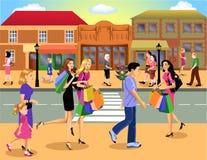 I stadens centrum shopping stock illustrationer