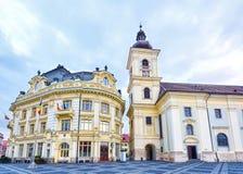 I stadens centrum Sibiu stad arkivfoton