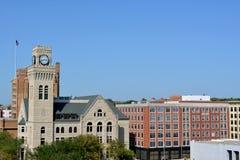 I stadens centrum Sioux City, Iowa Arkivfoto