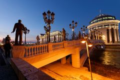 I stadens centrum Skopje arkivfoto