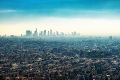 I stadens centrum skyskrapabyggnader och förorter av Los Angeles från Gr Fotografering för Bildbyråer