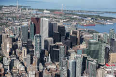 I stadens centrum Toronto som beskådas från luften Royaltyfria Bilder