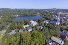 I stadens centrum Winchester, Massachusetts, USA arkivbild