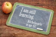 I am still learning - continuous education. I am still learning - Michelangelo at age 87 - continuous education concept on a slate blackboard against red barn stock photography