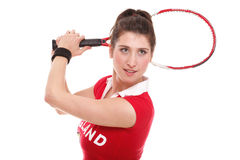 I studio picture from a woman with tennis racket Royalty Free Stock Image