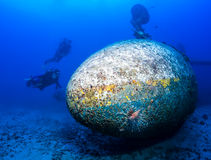 I subaquei esplorano il relitto di un aereo Fotografia Stock