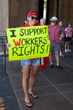 I Support Wisconsin Workesr's Rights!. Female supporter holding a sign that says I Support Workers' Rights!  at a rally at the Hawaii State Capitol in downtown Stock Photography