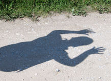 I surrender shadow on the road. Shadow on road royalty free stock photography