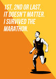 I Survived Marathon Runner Retro Poster Stock Photography