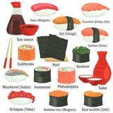 I sushi colorano le icone piane messe con i nomi su fondo bianco Immagini Stock Libere da Diritti