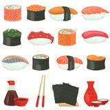 I sushi colorano le icone piane messe su fondo bianco Immagini Stock