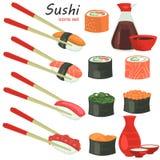 I sushi colorano le icone piane messe su fondo bianco Fotografie Stock Libere da Diritti