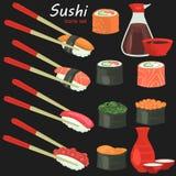 I sushi colorano le icone piane messe su fondo nero Immagine Stock Libera da Diritti