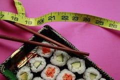 I sushi di verdure in nero eliminano il cassetto Fotografia Stock Libera da Diritti
