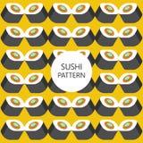 I sushi modellano su stile piano del fondo di colore Immagine Stock