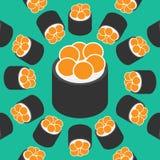 I sushi modellano su stile piano del fondo di colore Fotografia Stock