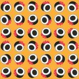 I sushi modellano su stile piano del fondo di colore Fotografie Stock
