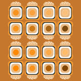 I sushi modellano su stile piano del fondo di colore Immagini Stock