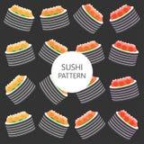 I sushi modellano su stile piano del fondo scuro Fotografia Stock Libera da Diritti