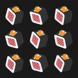 I sushi modellano su stile piano del fondo scuro Immagini Stock