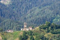 By i Svaneti, Georgia Royaltyfria Foton