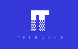 IT I T Dotted Letter Logo Design with Blue Background. Stock Photography