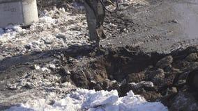 I tagli idraulici dell'interruttore congelati sporcano il video di riserva del metraggio archivi video