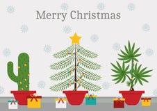 I tajmar jul varje växt är ett julträd royaltyfri illustrationer