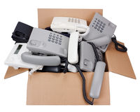 I telefoni legati con corde consegnano al concetto passato Immagini Stock