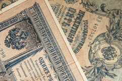 I tempi russi e vecchi antichi delle banconote della carta da parati di Nicholas 2 dello zar Fotografia Stock