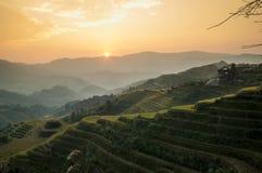 I terrazzi del riso di Longji, Cina Fotografia Stock Libera da Diritti