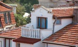 I terrazzi di vecchia città di Pomorie in Bulgaria Fotografie Stock Libere da Diritti