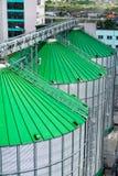 I tetti del silos di grano con i trasportatori della ruspa spianatrice hanno attaccato a loro Un magazzino moderno di grano e di  Immagini Stock