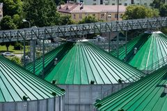 I tetti del silos di grano con i trasportatori della ruspa spianatrice hanno attaccato a loro Un magazzino moderno di grano e di  Fotografie Stock