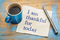 I am thankful for today on napkin. I am thankful for today - handwriting on a napkin with a cup of espresso coffee stock photos