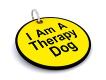 I am a therapy dog tag. Yellow I am a therapy dog tag isolated on white background Stock Photography