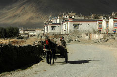 I tibetani ed il villaggio Fotografia Stock