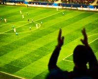 I tifosi incoraggiano il loro scopo del punteggio della squadra di calcio con le bandiere, le insegne e le sciarpe allo stadio Immagine Stock