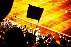 I tifosi incoraggiano il loro scopo del punteggio della squadra di calcio con le bandiere, le insegne e le sciarpe allo stadio Il Fotografia Stock Libera da Diritti