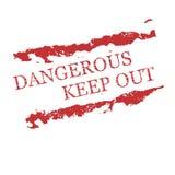 I timbri di gomma rossi pericolosi, mantengono fuori Fotografia Stock Libera da Diritti