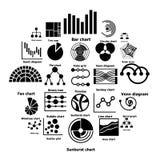 I tipi icone del grafico di Infographic hanno messo, stile semplice Immagini Stock
